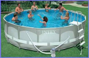 An Intex 16ft round Ultra Frame Pool